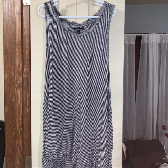 Who What Wear Tops - BLACK AND WHITE STRIPED HIGH LOW TANK
